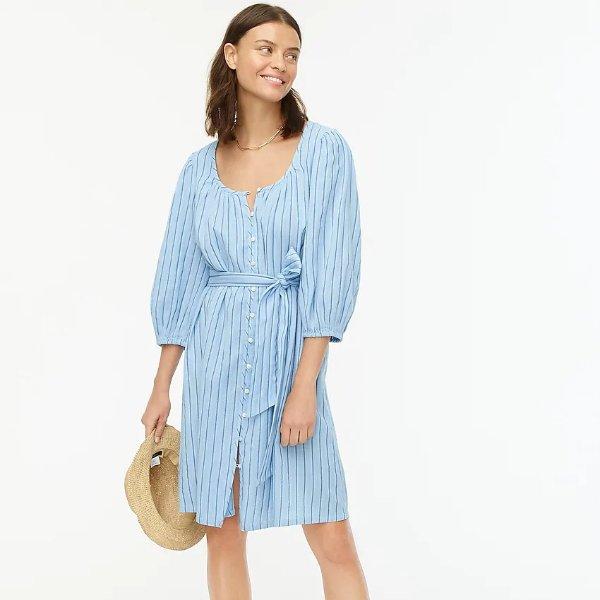 条纹灯笼袖连衣裙