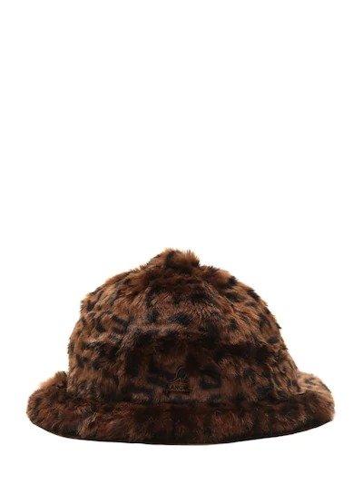豹纹毛绒渔夫帽
