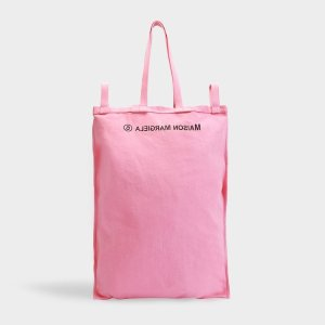 MM6 Maison MargielaInside Out Logo Tote in Pink Canvas