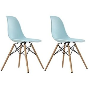 (6) 藍色餐桌椅:DHP Mid Century Modern Eames-Inspired Chair with Wood Legs, Set of Two, Lightweight, Light Blue