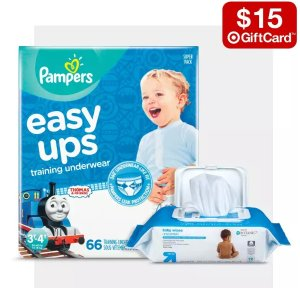 $15 gift card with $75Select baby diapers、daily items Sale @ Target