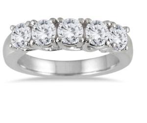 $888 + Free Shipping2 Carat TW Five Stone Diamond Wedding Band in 14K White Gold @ Szul