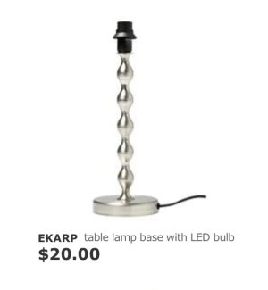 EKARP Table lamp base with LED bulb, nickel plated