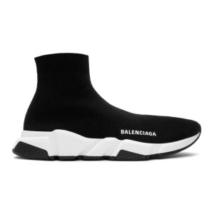 Balenciaga- Black & White Speed Sneakers