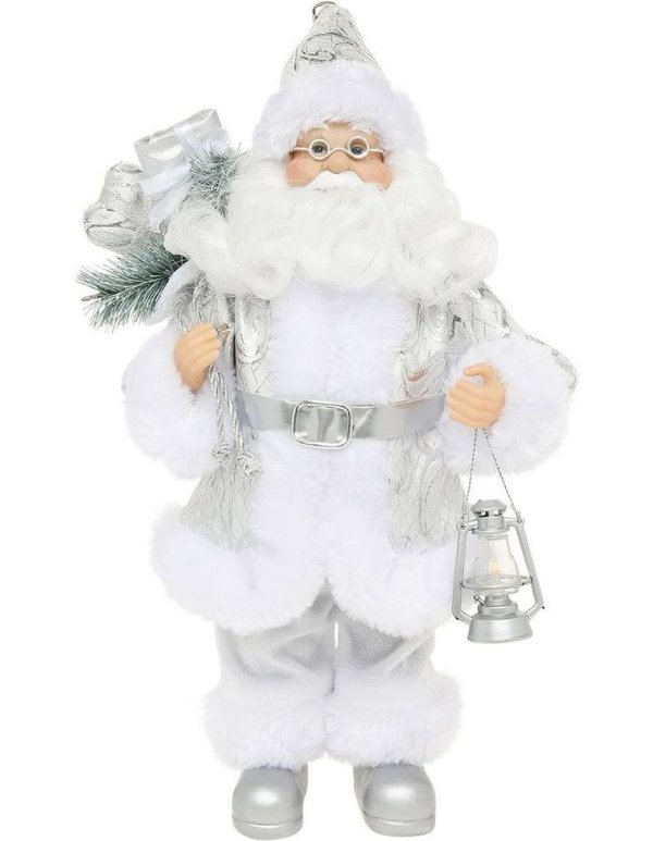 Product: Luxe 30cm White and Silver Fabric Standing Santa Holding LanternLuxe 30cm White and Silver Fabric Standing Santa Holding Lantern