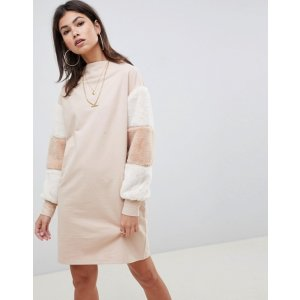 81c8f506c6e ASOSDESIGN funnel neck sweat dress with faux fur sleeves at.com