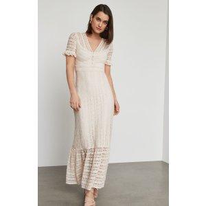 BCBGMAXAZRIAFloral Stripe Lace Maxi Dress