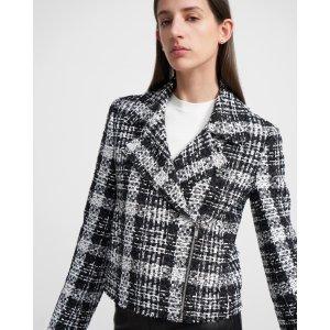 TheorySlim Moto Jacket in Rubber Tweed