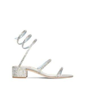 Rene Caovilla40MM银色绑带凉鞋