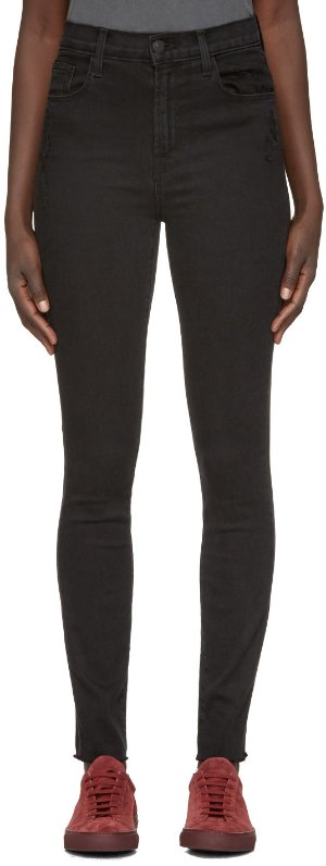 J Brand: Black High-Rise Carolina Jeans | SSENSE