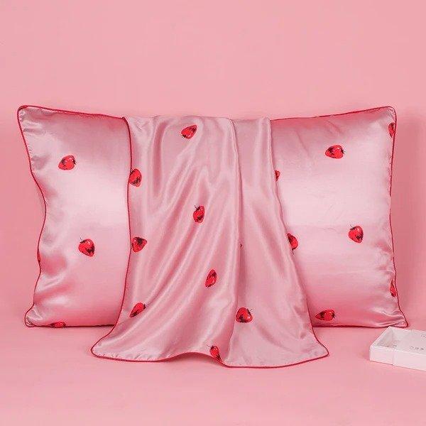 19姆米小草莓真丝枕套