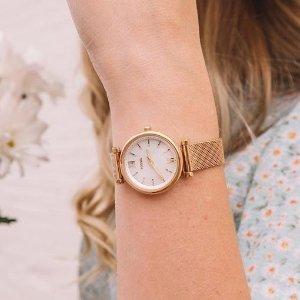Extra 35% OffCARLIE MINI THREE-HAND WINTER WHITE LEATHER WATCH @ FOSSIL