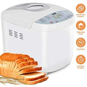 Amazon.com: SKG 2LB Automatic Programmable Bread Machine Multifunctional Bread Maker (19 Programs, 3 Loaf Sizes, 3 Crust Colors, 15 Hours Delay Timer, 1 Hour Keep Warm)-Gluten Free Bread Maker: Kitchen & Dining