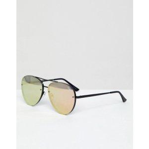 fa77b222a82e9 Quay AustraliaX Missguided Cool Innit Aviator Sunglasses In Black at  asos.com