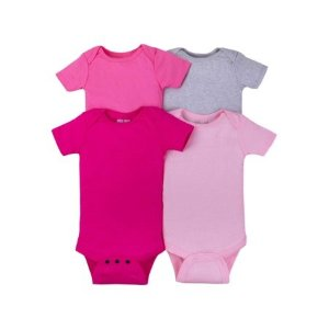 7a491c218 Little Star OrganicShort Sleeve Solid Bodysuits, 4-pack (Baby GIRLS)