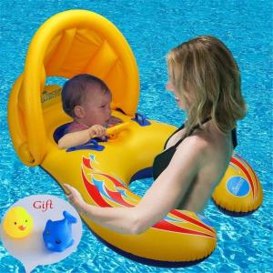 白菜价 $13.99Ycocobuy 宝宝+妈妈亲子遮阳游泳圈,6-36个月使用