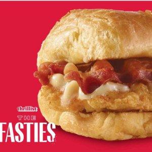 买早餐即送新品三明治Wendy's  新品枫培根鸡肉牛角包三明治免费送 App专享