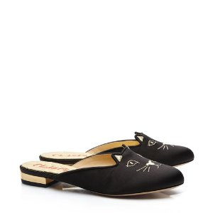 Charlotte OlympiaSabot Kitty in Black & Gold - Flats | Charlotte Olympia