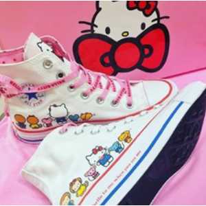 5b462d8975 ConverseCONVERSE x Hello Kitty Chuck Taylor All Star White   Prism Pink  High Top Womens Shoes