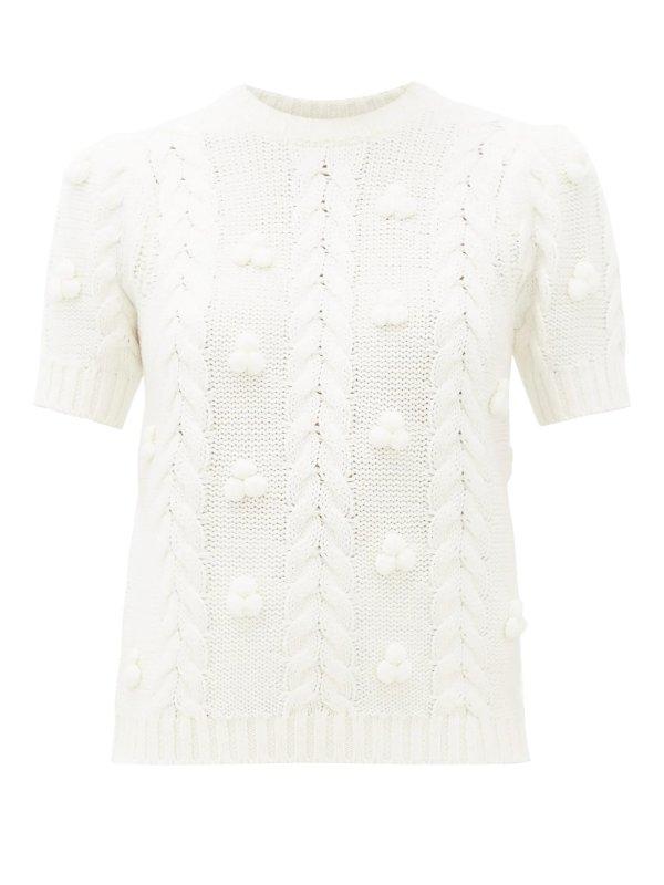 白色斜纹针织毛衣