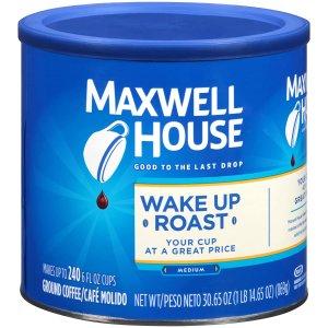 $4包邮 超划算Maxwell House 中度烘焙咖啡粉30.6oz 干饭人日常醒脑必备