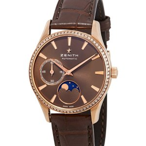 Extra $1000 OffZenith 18kt Rose Gold Automatic Moonphases Ladies Watch