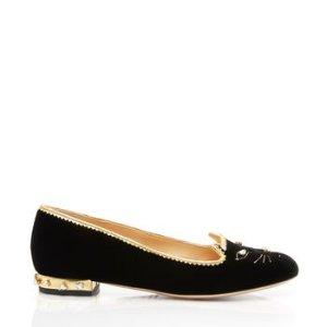 Charlotte OlympiaWomen's Designer Flat Shoes |- BEJEWELLED KITTY