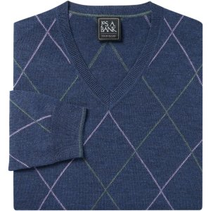 Traveler Collection Merino Wool V-Neck Argyle Sweater - Merino Wool Sweaters | Jos A Bank
