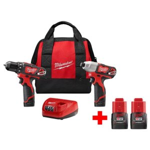 MilwaukeeMilwaukee M12 12-Volt Lithium-Ion Cordless Drill Driver/Impact Driver Combo Kit (2-Tool) With Two Free M12 1.5Ah Batteries