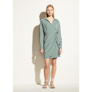 VinceLong Sleeve Wrap Shirt Dress