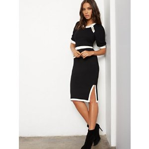 New York & CompanyButton-Accent Contrast-Trim Sweater Skirt - 7th Avenue - New York & Company