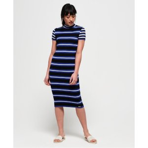 SuperdrySporty Striped Ribbed Knitted Dress