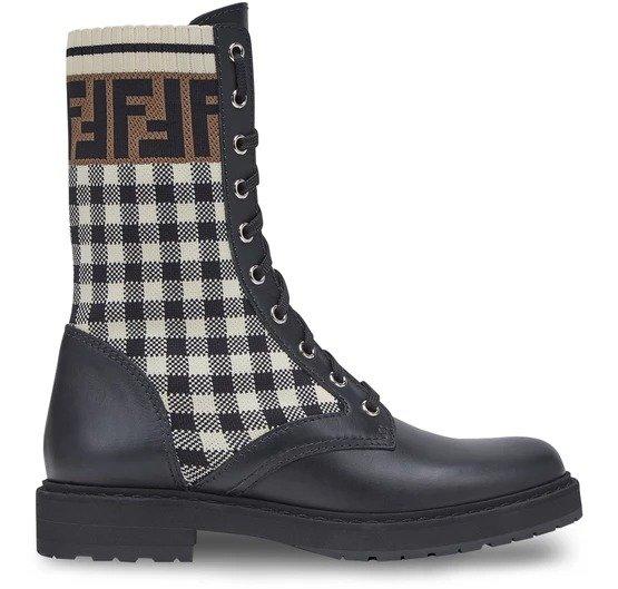 Black 格纹短靴