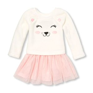 2d419eed3 The Children's PlaceBaby And Toddler Girls Long Sleeve Bear Knit-To-Woven  Tutu Dress. $9.98 $24.95. The Children's Place Baby ...