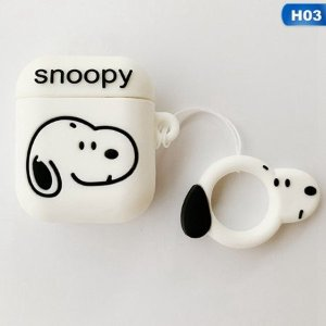 SnoopyLovely Silicone Protective Case Key Chain Pouch Skin for Apple Airpods Earphones