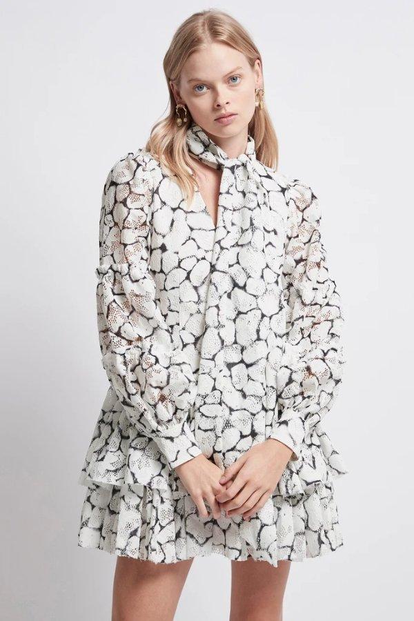 大理石花纹设计感连衣裙