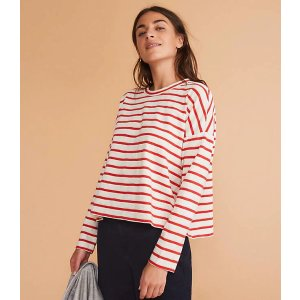 LOU & GREYStriped Cozy Jersey Cropped Tee