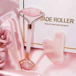 $24.95(原价$29.95)粉色玉石按摩板2件套 刮痧板 即时消肿 塑造立体下颚线