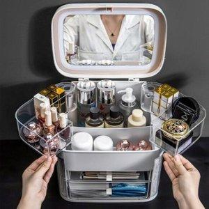 $39.2(原价$89)便携式化妆品收纳箱 配带三色LED灯 梳妆台上的收纳神器