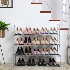 $12SONGMICS 4-Tier Shoe Rack Shoe Tower Shelf Storage Organizer