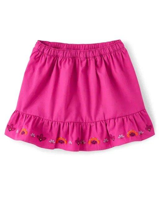 女童刺绣荷叶边半裙