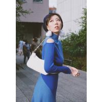 Shader 藍色拼色毛衣裙