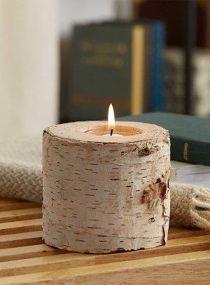 Birch wood candle holder   Simons Maison
