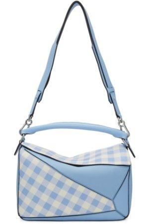 Loewe: Blue Gingham Puzzle Bag | SSENSE