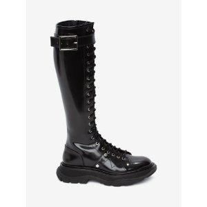 Women's Black/Silver Tread Lace Up Boot | Alexander McQueen