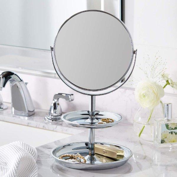 可翻转双面带两层收纳盘化妆镜