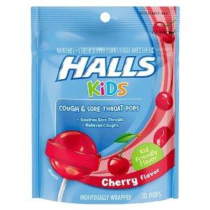 Halls 儿童抗感舒喉棒棒糖10支 樱桃味