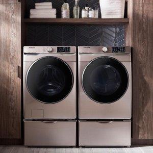 $778 烘干机同价 一套仅$1556Samsung 带WIFI高效快洗蒸汽节能滚筒洗衣机 收超美香槟金