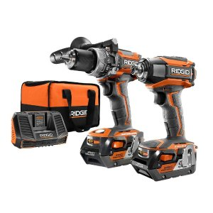 Free Tool or Battery withRidgid 18-Volt Lithium-Ion Cordless Brushless Hammer Drill and Impact Driver 2-Tool Combo Kit