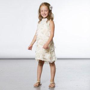 时髦儿小姑凉女童纯白无袖连衣裙